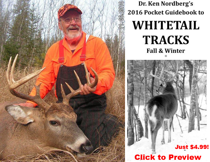 Doc with big buck plus cover of Whitetail Tracks Guidebook