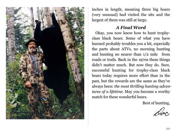 Drawing shows how Doc sets up Black Bear hunters with the perfect shot.